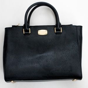 MICHAEL KORS Medium Leather Satchel Black